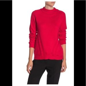Nanette Lepore Cashmere Cable Knit Red Sweater L